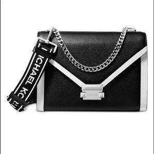 Michael Kors Whitney Logo Leather Shoulder Bag NWT